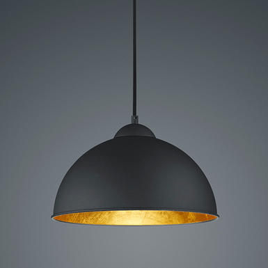Suspension design trio jimmy noir or m tal r30121002 for Suspension luminaire noir et or