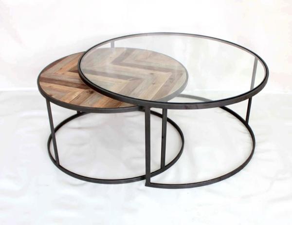 Ensemble de 2 tables basse lo design vendange noir bois for Table basse grand format