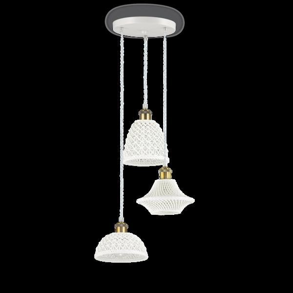 Lampes Suspension Lux Ideal Design Lugano 206875 3 Céramique Blanc A3jc54RLSq