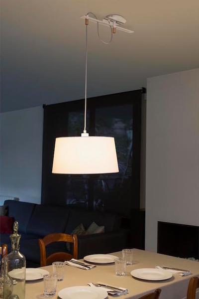 Suspension design Faro Fusta Blanc Metal + Tissu Abat Jour 28394
