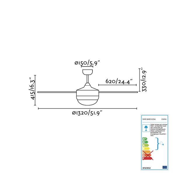 Faro 33700 Icaria Ventilateur De Plafond Blanc